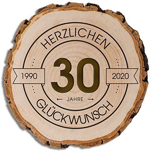 DARO Design - Baumscheibe mit Rinde und Gravur Größe S 16-19cm - 30 Jahre Herzlichen Glückwunsch - Geschenk zum Jubiläum, Geburtstag, Jahrestag