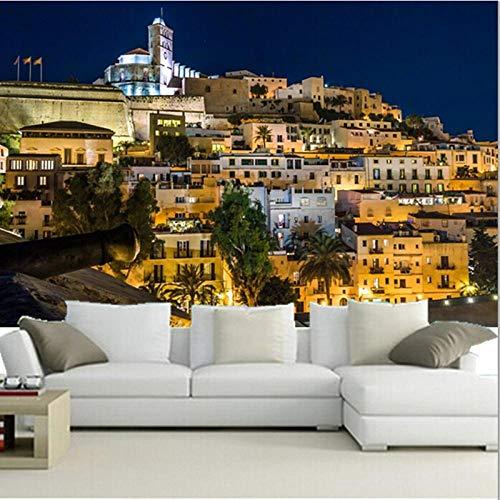 Wandbild Hintergrundbild Benutzerdefinierte 3D Großes Wandbild, Spaniens Häuser Ibiza Nightpapel De Parede, Wohnzimmer Sofa Tv Wand Schlafzimmer Tapete @ 430 * 300Cm