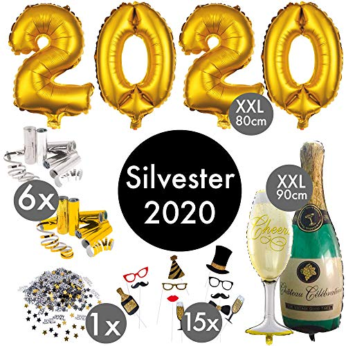 Silvester Deko 2020 XXL Party Set | PREMIUM QUALITÄT | über 100 Teile | XXL Zahlenluftballons 80cm Champagner u. Cheers | Fotorequisiten Luftschlangen Konfetti | Tischdekoration Happy New Year