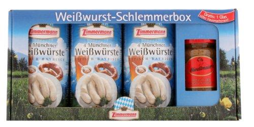 Zimmermann - Weißwurst Schlemmerbox inkl. Gratis-Senf (3 Dosen + süßer Senf). Weißwurst-Schlemmerbox 3 Dosen Zimmermann Münchner Weißwürste - die berühmte bayrische Spezialität, fein abgeschmeckt mit Petersilie, Muskatblüte und Zitrone und ein Glas Händlmaier's süßer Hausmachersenf.
