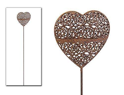 Gartenstecker Metall mit Herzen in Rostoptik Gartendeko Herz mit Metallstab
