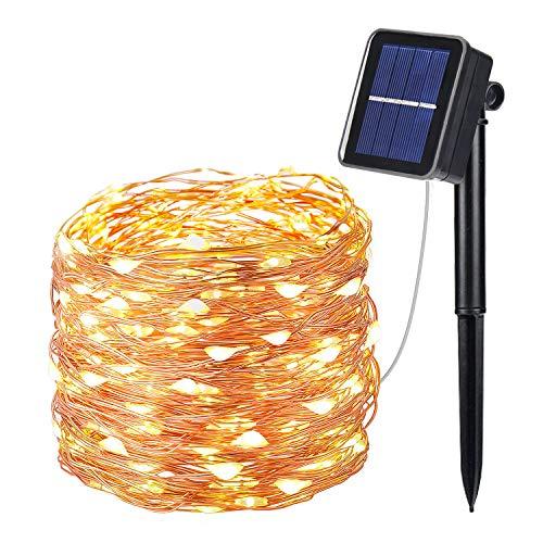 OxyLED Solar Lichterkette Außen,100 LED Lichterkette 8 Modi Außenbeleuchtung Kupferdraht Wasserdicht IP65 ung und Timer für draussen,Innenbeleuchtung,Garten, Hochzeit,Party,Warmweiß
