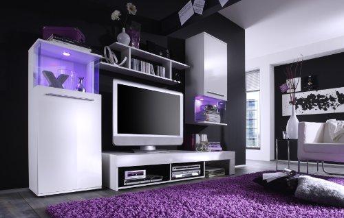 trendteam Wohnzimmer Anbauwand Wohnwand Wohnzimmerschrank Punch, 228 x 183 x 47 cm in Korpus Weiß, Front Weiß Glanz mit LED Farbwechselbeleuchtung