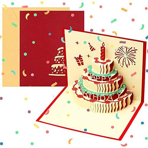 3D Geburtstagskarte, Pop Up Geburtstagskarten Grußkarte Geburtstag Karten mit 3 Schichten Kuchen, Gefaltete Happy Birthday Karte Glückwunschkarte Grußkarten mit Umschlag für Geburtstag Weihnachten