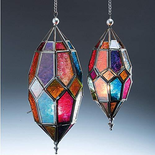 Klass Home Collection Authentischer marokkanischer Lampenschirm, groß, klassisch, Vintage, Türkisches Design, für den Innenbereich, Glaslaterne, Deko-Teelichthalter, aus Eisen, mittelgroß, mehrfarbig