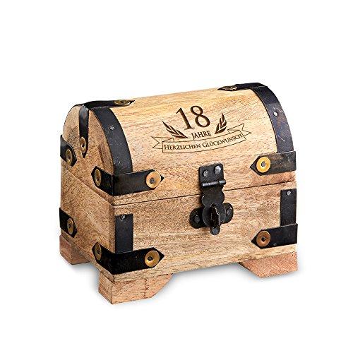 Casa Vivente – Geld-Schatztruhe mit Gravur zum 18. Geburtstag – Hell – Bauernkasse – Schmuckkästchen – Spardose – Aufbewahrungsbox aus Holz – Verpackung für Geld- oder Schmuckgeschenke