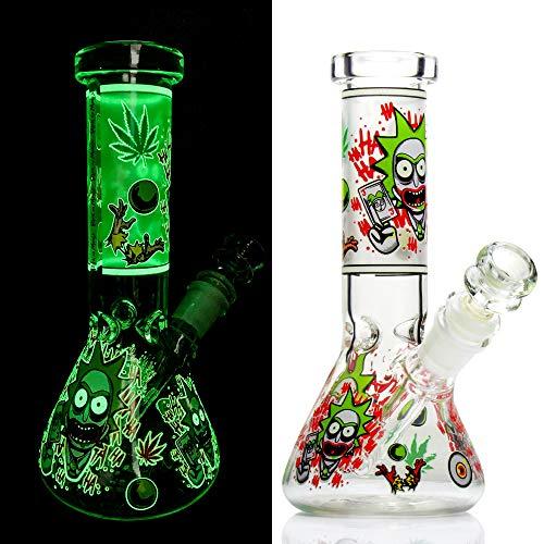 REANICE Glas Bongs Mini Bong Wasserpfeife Becher Tabakpfeife Fluoreszenz Pipe 14.5mm Bowl -Gr¡§?n