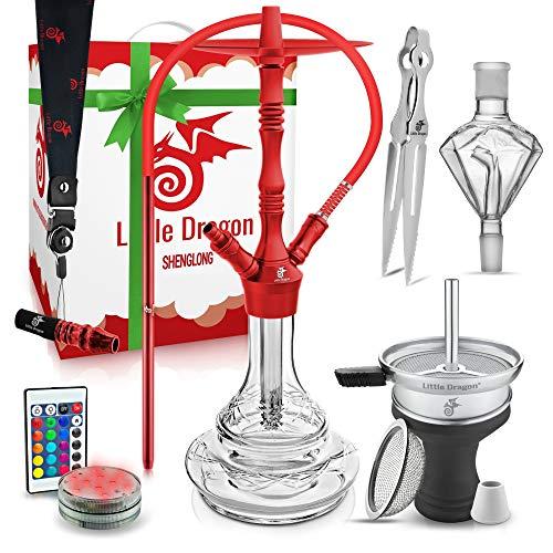 Shisha Set Komplett Rot - Shisha 2 Anschlüsse mit hochwertigem Shisha Zubehör - Exzellenter Durchzug und Genialem Rauchverhalten - edle Wasserpfeife 71cm aus eloxiertem Alu mit Klick System