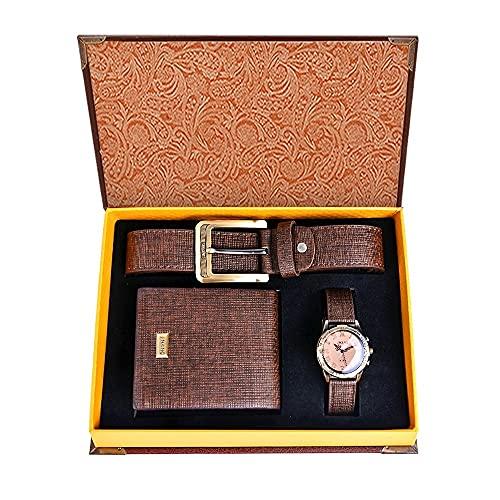 Souarts Herren Geschenkset mit Armbanduhr Männer Geldbörse Gürtel Geschenk für Vater zum Geburtstag Weihnachten (Braun)