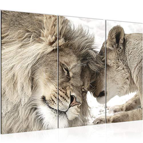 Runa Art Löwen Liebe Bild Wandbilder Wohnzimmer XXL Beige Löwe und Löwin 120 x 80 cm 3 Teilig Wanddeko 002131b