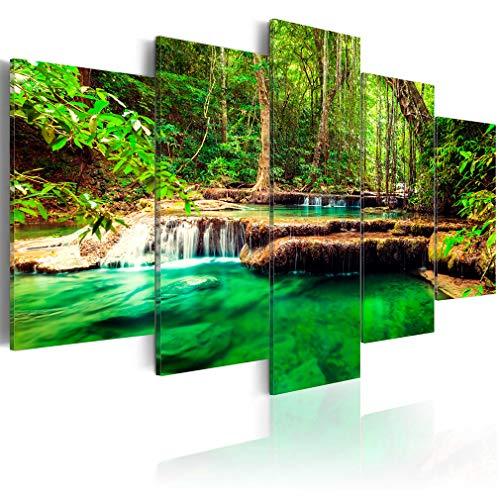 decomonkey Bilder Wald Wasserfall 200x100 cm XXL 5 Teilig Leinwandbilder Bild auf Leinwand Wandbild Kunstdruck Wanddeko Wand Wohnzimmer Wanddekoration Deko Natur Wald