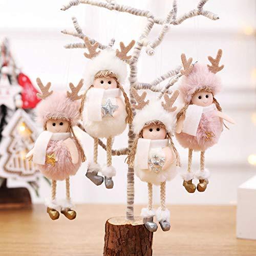 MoMo Honey Weihnachtsengel Puppe, Plüsch Engel Mädchen Mit Stern Schneeflocke Anhänger, Weihnachten Hängenden Dekor Prop Kinder Spielzeug Für Weihnachtsbaum Party Home Fenster Rosa Schneeflocke #