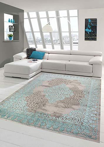 Merinos Wohnzimmerteppich mit Ornamenten Teppich Vintage in Türkis Grau Größe 200 x 290 cm
