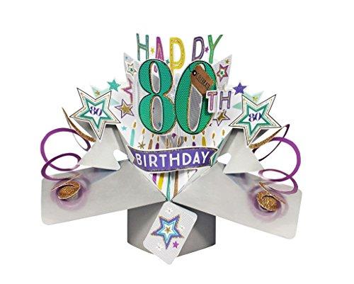 Second Nature Pop Ups Geburtstag Pop Up Card mit'Happy 80th Birthday' Schriftzüge und Sterne