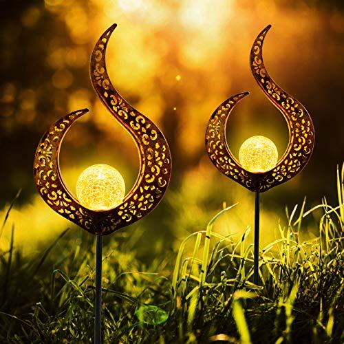 infinitoo Solarlampe für Außen, 2er Pack Metall Aushöhlen LED Stake Dekorative Gartenfahlständer Solarleuchte im Freien Gartendeko für Terrasse, Weg, Hof, Rasen