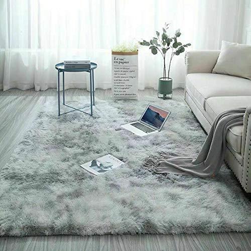 Catalpa Blume Teppich in Silbergrau Hochflor Shaggy Teppiche Langflor Wohnzimmer Pflegeleicht 160x230cm