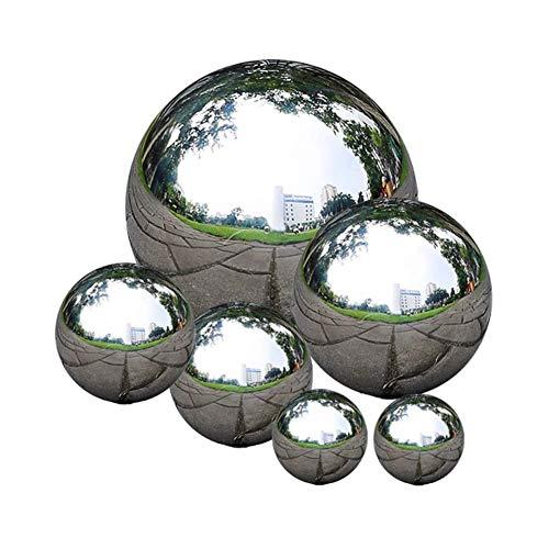 zosenda Edelstahl Gartenkugel, 6 Stück 50-150 mm Spiegelpoliert Hohlkugel Reflektierende Gazing Ball, Schwimmende Teichkugeln Nahtlose Dekokugel Spiegelkugel für Hausgarten Ornament Dekorationen