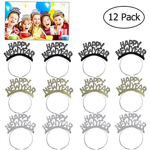 Tinksky HAPPY NEW YEAR Stirnband Tiara Haarspange Aluminiumfolie Hairband Kopf Tragen für Neue Jahr Party Dekorationen Pack 12 stücke