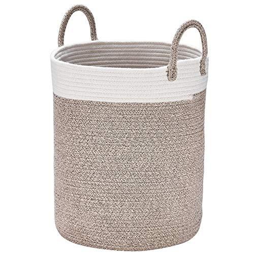 La Jolíe Muse Aufbewahrungskorb Wäschekorb aus Baumwolle Seil, Wäschesammler, Stabil und Haltbar, mit Griff, Für Wohnzimmer Kinderzimmer Badzimmer