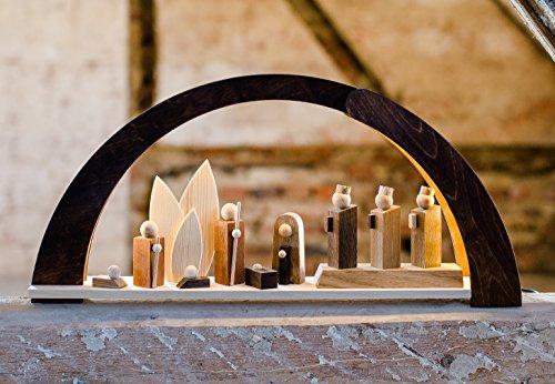 VOFA - Holz und Design Schwibbogen, Moderner Schwibbogen mit LED Beleuchtung, mit Krippenfiguren, Handarbeit aus dem Erzgebirge statt 210,00 Euro