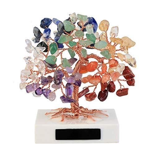 CrystalTears Edelstein Baum des Lebens Dekoration Wire Wrap Trommelsteine Lebensbaum Feng Shui Geldbaum Glückbaum mit Weiß Marmor Basis Haus Tisch Büro Deko (7 Chakra)