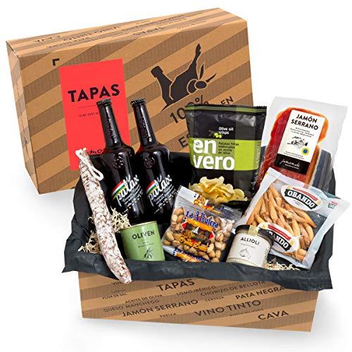 Präsentkorb Spanische Delikatessen - TAPAS I gefüllter Geschenkkorb mit Bier & Spezialitäten aus Spanien I köstliches Geschenk für Männer & Frauen