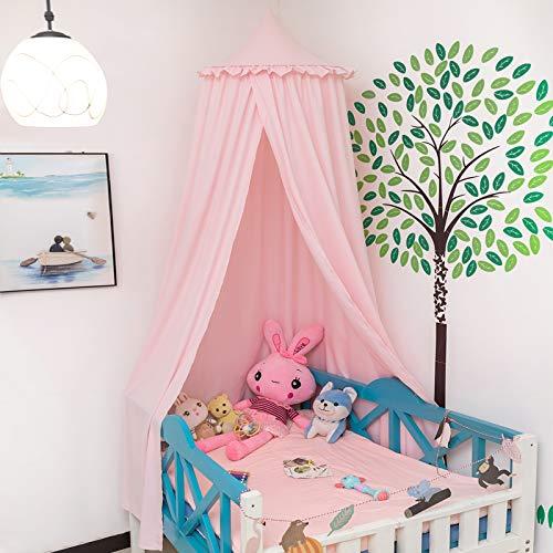 Laneetal Betthimmel Baldachin Kinderzimmer Deko Moskitonnetz Babys Bett, Prinzessin Prinz Spielzelte Kuschelecke Dekoration für Spielzimmer Höhe 230 cm Rosa