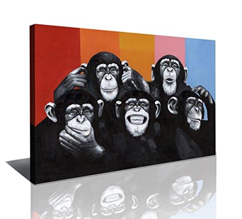 bestpricepictures 80 x 60 cm Bild auf Leinwand Affen bunt 4004-SCT deutsche Marke und Lager - Die Bilder/das Wandbild/der Kunstdruck ist fertig gerahmt