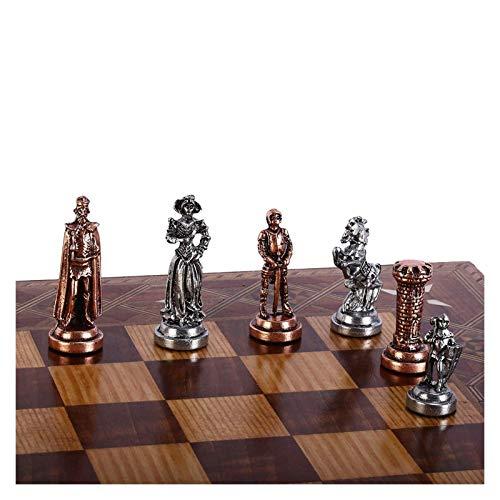 L.J.JZDY Schachbrett Schachmittel mittelalterliche britische Armee antike Kupfer handgemachte Metallschachfiguren 7 cm Nicht einschließlich Schachbrett