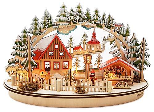 Wichtelstube-Kollektion LED Schwibbogen Oval Weihnachtsmarkt im Erzgebirge Schwippbogen Leuchter*