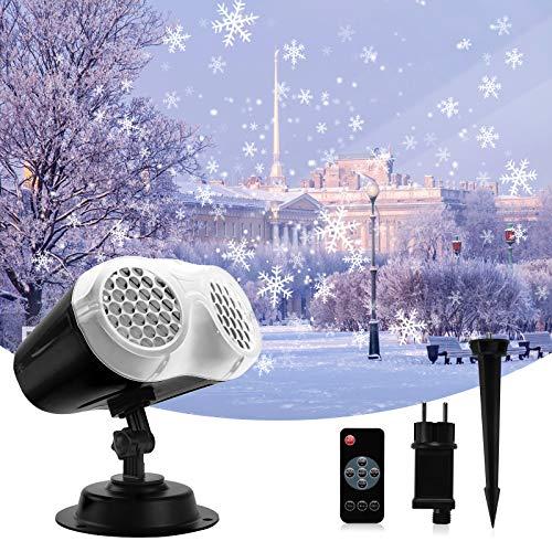 BACKTURE Schneeflocke Projektor, LED Projektionslampe, IP65 Wasserdicht Außen und Innen Schneefall Lichter mit Fernbedienung Timer für Weihnachten Halloween Party Garten Schneeflocken Deko