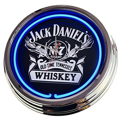 Neon Uhr Jack Daniel´s Wanduhr Deko-Uhr Leuchtuhr USA 50's Style Retro Neonuhr Esszimmer Küche Wohnzimmer Büro (Blau)