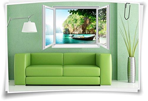 Medianlux 3D Fenster Wandbild Wandtattoo Aufkleber Sticker Wohnzimmer Insel Wasser Boot Urlaub Reisen Lagune Deko, 150x100cm