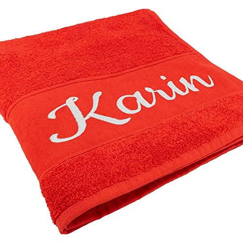 Handtuch mit Namen oder Wunschtext Bestickt, personalisiertes Duschtuch, individuelles Badetuch, 100% Baumwolle, 100 x 50 cm, rot