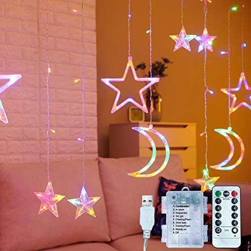 3,5 m dekorativer Sternenvorhang, Monde und Sterne, LED-Nachtlicht für Zuhause, Dekoration, Party, Fernbedienung, AA-Batterie/USB-betrieben