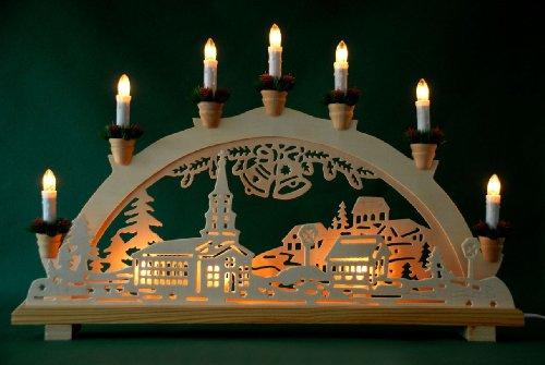 Schwibbogen Lichterbogen  'Dorf und Glocken' 10flammig innenbeleuchtet Weihnachten Advent Geschenk Dekoration (10767)
