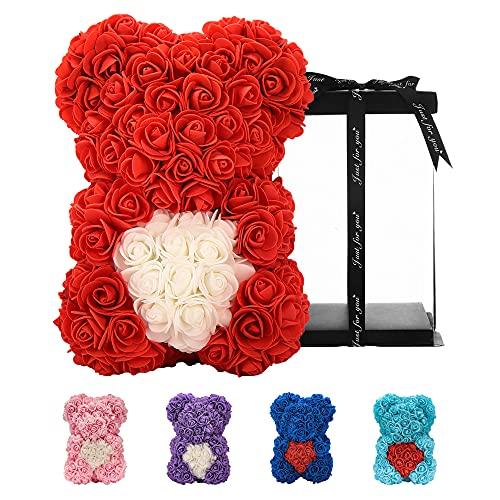 Geschenke für Frauen , Geburtstagsgeschenke , Rosenblumenbär Handgemachter Rose Teddybär, Beste künstliche Dekoration Geschenke für Mama, Geschenke für Mädchen, Einzigartige Geschenke (Rot)