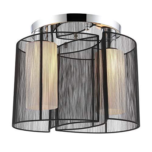 Maxmer Modern Deckenleuchte Deckenlampe Wohnzimmerlampe aus Seide+ Eisen 40W 2*E27 Leuchtmittel für Wohnzimmer, Esszimmer, Schlafzimmer, Kinderzimmer, Restaurant, Hotelzimmer etc. (Schwarz)