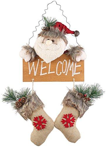 infactory Türdeko: Weihnachtsmann-Tür-Dekoration mit Welcome-Schriftzug, zum Aufhängen (Dekofiguren Weihnachten)