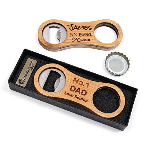 Personalisierter Flaschenöffner Kapselheber aus Bambus + Geschenkbox   Schaffen Sie ein ganz einzigartiges Geschenk   Lasergravur   Super Geschenkidee für Geburtstage, Vatertag, Valentinstag, Hochzeit
