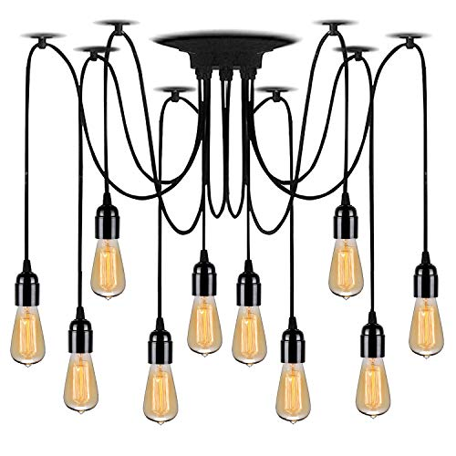 Lightsjoy DIY Kronleuchter Vintage Retro Pendelleuchte Hängeleuchte Industrie Höhenverstellbar Deckenleuchte 10 Flammig Spinnen Hängende Lampe für Wohnzimmer Küche Esszimmer Esstisch Bar Hotel usw