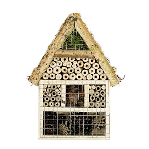 CORVUS Insektenhotel Gross Bienenhotel Hotel für Insekten Käferhotel aus Holz Weide für Überwinterung Gartendeko