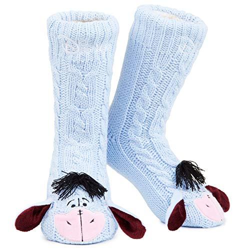 Disney Eeyore Wintersocken, Flauschig Wärme Damen Socken für Winter, Anti Rutsch Hüttensocken, Kuschelsocken Frauen mit Abs Sohle Einheitsgrösse 38-41