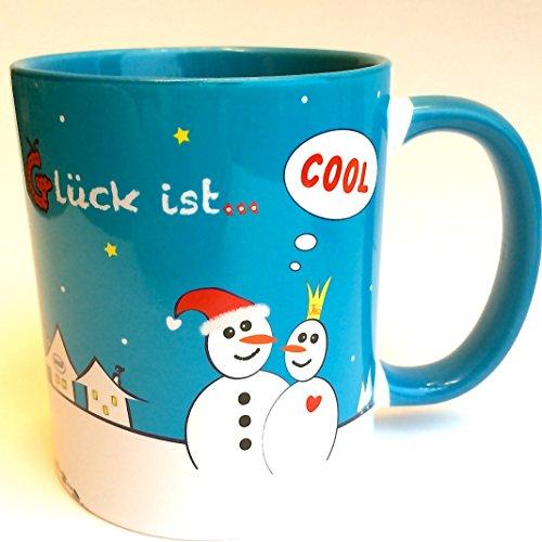 Tasse mit Spruch: Glück ist...cool, Glühweintassen, Tante, Freund, Glühweinbecher, Liebe im Schnee, Geschenkidee für Frauen, Geschenkidee für Männer, Geschenk unter 20 Euro