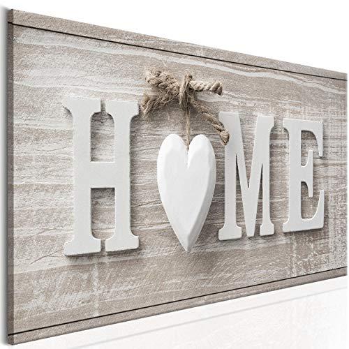 decomonkey Bilder Home Haus 120x40 cm 1 Teilig Leinwandbilder Bild auf Leinwand Vlies Wandbild Kunstdruck Wanddeko Wand Wohnzimmer Wanddekoration Deko Herz Vintage