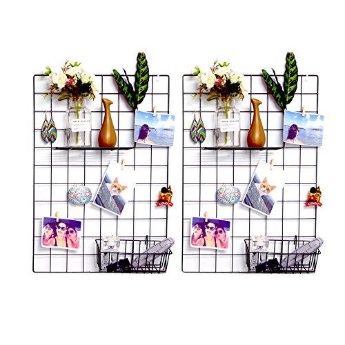 Ray & Chow 2er DIY Eisen Gitter der Foto Wand Dekoration Plaid Foto an der Wand Hängen in der Familie, Küche, Büro und so weiter (65 x 45cm) Schwarz