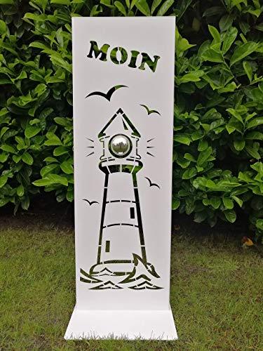 Gartendeko Fockbek Metallschild Stele Leuchtturm MOIN weiß Höhe ca. 80 cm Deko Eingangsbereich