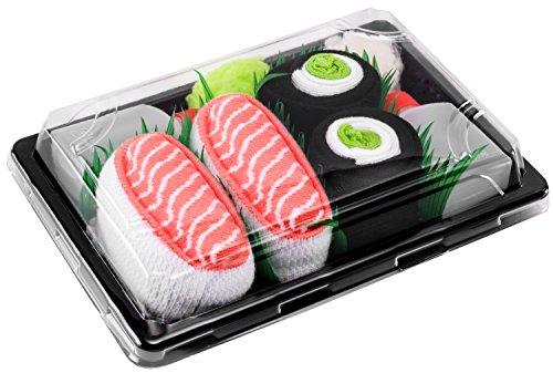 Rainbow Socks - Damen Herren - Sushi Socken Lachs Nigiri Gurken Maki - Lustige Geschenk - 2 Paar - Größen EU 41-46