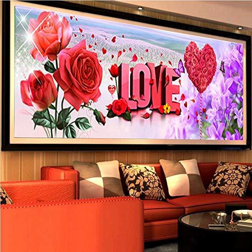 Hescn DIY 5D Diamond Painting Kit Mosaik Vollbohrer Großflächige Bild Diamant Stickerei Künstlerisches Handwerk Kreuzstich Wanddekoration Wohnzimmer Liebe Rose, 120X45Cm