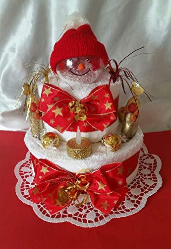 Handtuchtorte * weihnachtlich mit Schneemann